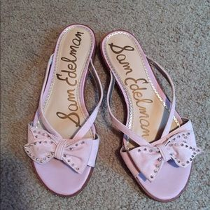 Sam Edelman Shoes - Sam Edelman Shoes Pearl Pink Suede Studded Bow 9M